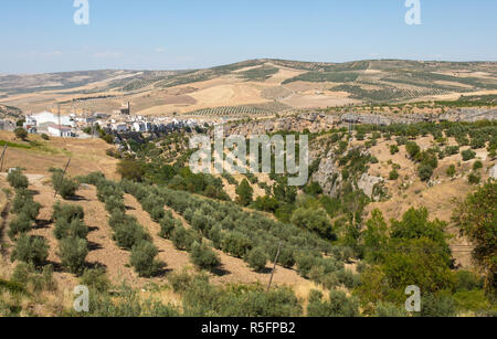 View of Alhama de Granada from the A402 road, Granada, Andalusia, Spain - Stock Image