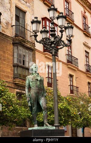Spain, Cadiz, Plaza Arguelles; Statue of Francisco de Miranda, hero of American Independence, died in Cadiz 1816 - Stock Image