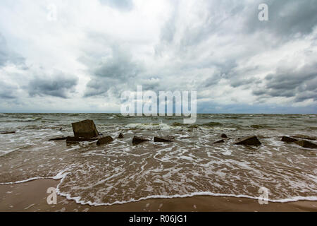 Baltic sea with stones on the beach - Stock Image