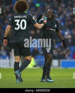 Victor Moses of Chelsea celebrates scoring with David Luiz during the Premier League match between Brighton and - Stock Image