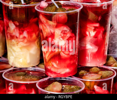 Turkish pickle juice on display in Istanbul - Stock Image