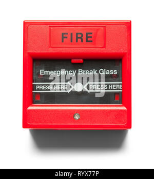 Red Fire Alarm on Wall Isolated on White. - Stock Image