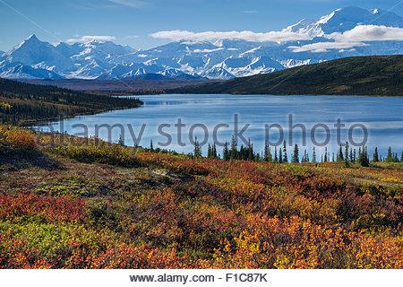 Alaska : Mount McKinley and Wonder Lake in Denali national Park - Stock Image