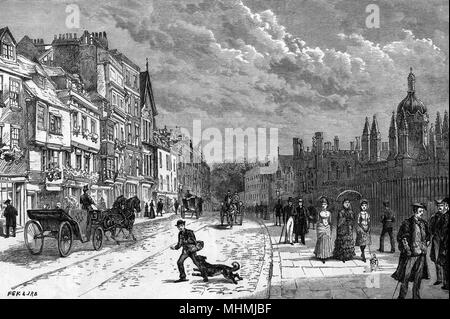 Cabs and carriages, an errand boy harassed by a dog and a mama with two daughters and a dog on the lead, pass along King's Parade in late Victorian times     Date: 1887 - Stock Image