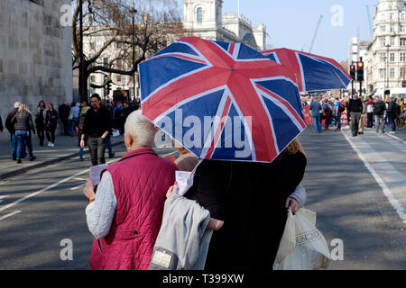 Pro brexit protesters in central London, UK - Stock Image