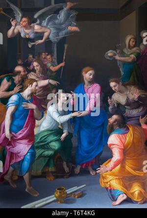 Resurrection of the Daughter of Jairus, Miracle of Jesus,  Bronzino, 1570-1572, Basilica di Santa Maria Novella, Church of Santa Maria Novella, Floren - Stock Image