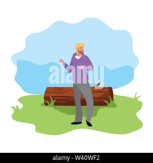 man character with trunk landscape vector illustration - Stock Image