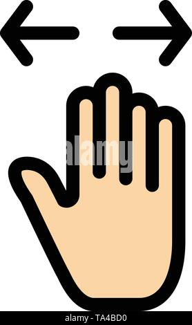 Hand, Gesture, Left, Right, zoom out  Flat Color Icon. Vector icon banner Template - Stock Image