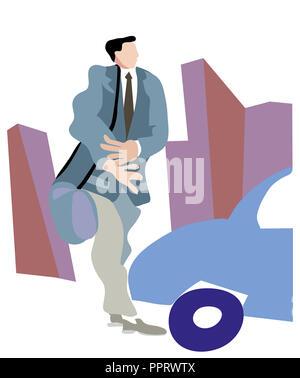 Man walking in the city.  Businessman walking in the city. Young man walking in the street. - Stock Image