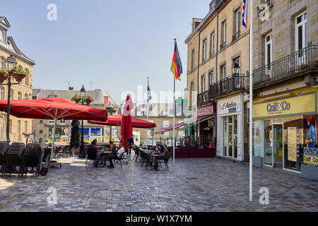 Cafe de Paris early in the morning at Fougères, Brittany, France - Stock Image
