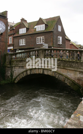Winchester City Bridge Over the River Itchen, Winchester, Hampshire, UK - Stock Image