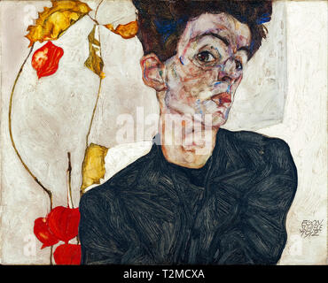 Egon Schiele (1890–1918), Self-Portrait with Physalis, 1912 - Stock Image