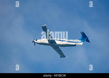 Pilates PC12 NG departing Inverness airport in Highland Scotland. - Stock Image