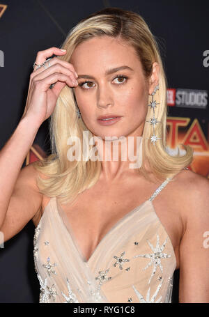 BRIE LARSSON US film actress at  the Marvel Studios 'Captain Marvel' premiere at the El Capitan Theatre on March 04, 2019 in Hollywood, California. Photo: Jeffrey Mayer - Stock Image