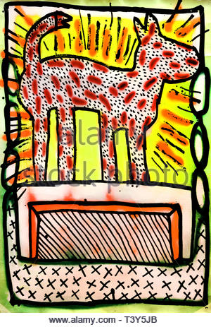 Untitled by Keith Haring American painter artist pop art and graffiti-like work grew out of the New York City, USA, United States of America. - Stock Image