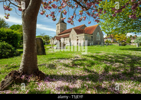 Spring afternoon at St Michael's church in Southwick, West Sussex, England. - Stock Image