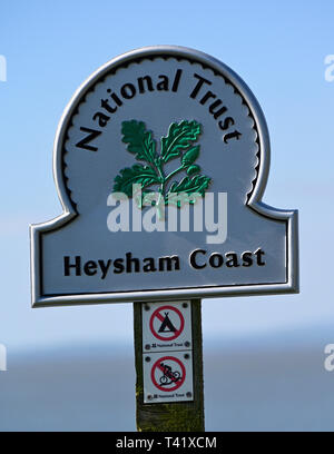 National Trust sign, Heysham Coast. Half Moon Bay, Heysham, Lancashire, England, United Kingdom, Europe. - Stock Image