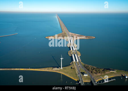 The Dutch Afsluitdijk, Noord-Holland, the defense against the North Sea - Stock Image