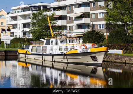River control boat, waterways agency, River Ruhr, Mülheim an der Ruhr, Germany - Stock Image