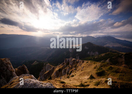 Scenic view of Carpathian mountains against cloudy sky - Stock Image