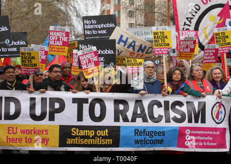 London, UK - 16 March 2019: Thousands of people took part in the UN Anti-Racism Day demonstration that took place in central London on 16 March. The demonstration which began in Park Lank and ended outside Downing Street was organised by Stand Up to Racism and Love Music Hate Racism and supported by the TUC and UNISON. Photo: David Mbiyu Credit: david mbiyu/Alamy Live News - Stock Image