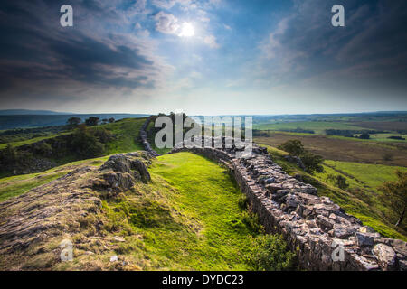 Hadrian's wall at Walltown Crags in Northumberland. - Stock Image