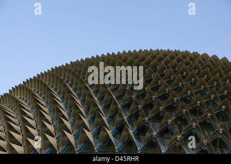 Esplanade, also known as the 'Big Durian,' sits along Marina Bay, Singapore - Stock Image
