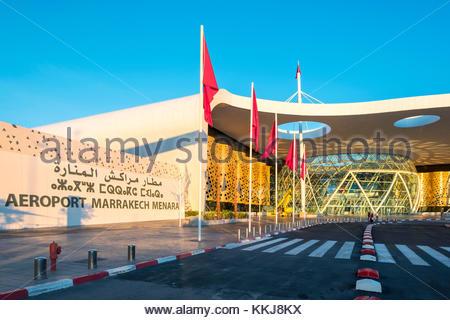 Morocco, Marrakech-Safi (Marrakesh-Tensift-El Haouz) region, Marrakesh. Terminal building at Marrakesh Menara Airport. - Stock Image