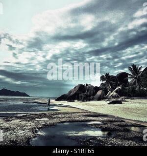 Seychelles La Digue Island Anse Source D'Argent Beach - Stock Image