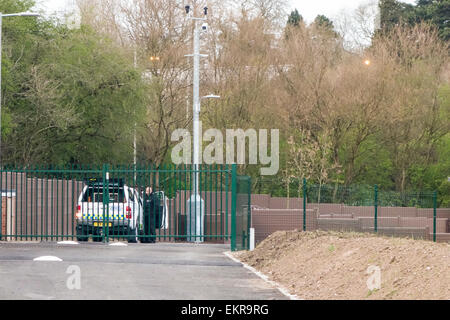 Leicester, UK. 13th April, 2015. Travellers refuse to move onto a brand new travellers camp that has been built - Stock Image