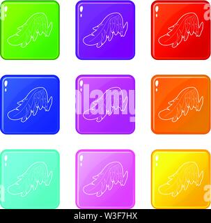 Angel wing icons set 9 color collection - Stock Image