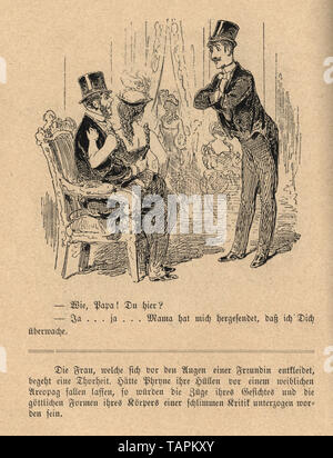 Victorian Cartoon of man with a showgirl sat in his lap, 1880s, German 19th Century - Stock Image