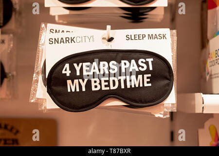 4 YEARS PAST MY BEDTIME. A funny sleep mask for sale at It'sugar in Greenwich Village, New York City. - Stock Image