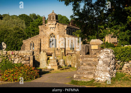 UK, Yorkshire, Wharfedale, Linton Falls, St Michael and All Angels church, steps and narrow stile, late afternoon - Stock Image