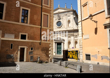 italy, rome, jewish ghetto, piazza lovatelli and church of santa caterina dei funari - Stock Image