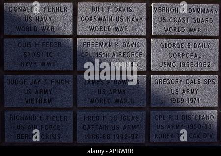 Memorial tablest at the Veterans Wall of Honor in Bella Vista, Ark. - Stock Image