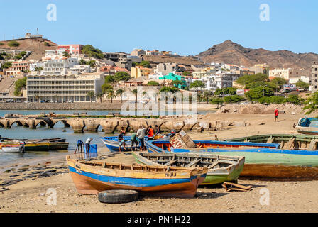 Fishing Boats in the harbour city of Mindelo the main city at Sao Vicente Island at the Cape Verde Archipelago. - Stock Image