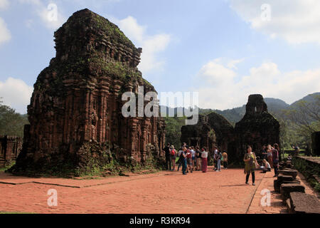 An ancient Hindu temple at My Son Sanctuary, Quang Nam Province, Vietnam - Stock Image
