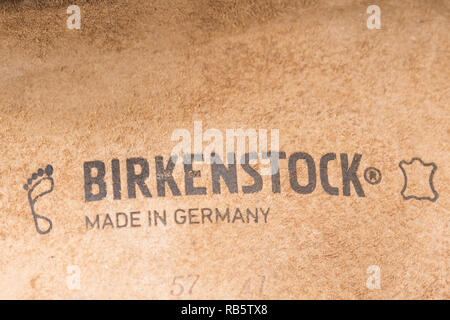 Birkenstock label on footbed of Birkenstocks sandals - Stock Image