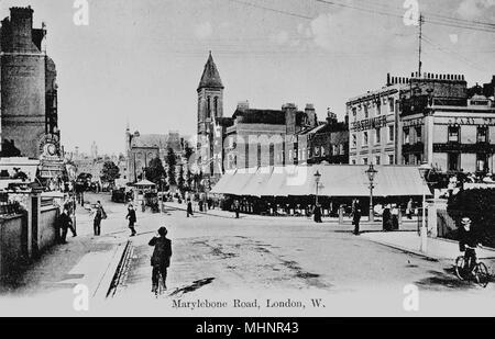 Marylebone Road, Marylebone, London, looking east across Edgware Road from Sussex Gardens.      Date: circa 1905 - Stock Image