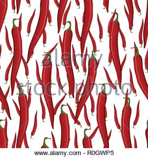 Red hot chili pepper seamless pattern - Stock Image