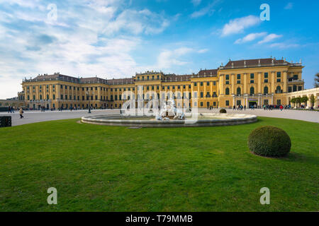 Palace Vienna, view of the baroque exterior of Schloss Schönbrunn palace seen from the north-west corner of its grand courtyard, Vienna, Austria. - Stock Image