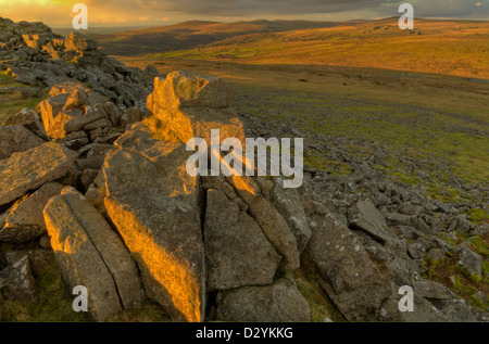 Transient evening golden light on Sharpitor in Dartmoor National Park - Stock Image