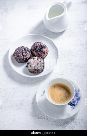 Almond cookies with chocolate and coffee. Gluten free flour. - Stock Image
