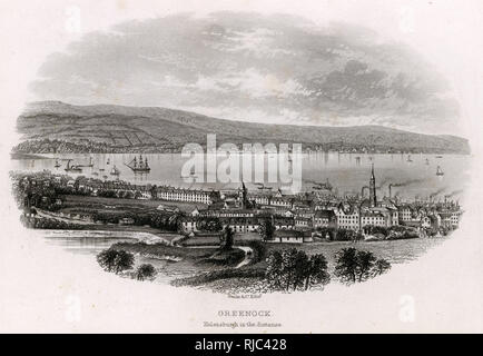 Greenock is a town and administrative centre in the Inverclyde council area in Scotland and a former burgh within the historic county of Renfrewshire, located in the west central Lowlands of Scotland. Helensburgh can be seen in the distance. - Stock Image