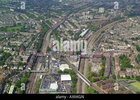 Aerial view of West Hampstead Tube and Mainline Rail Stations in North London - Stock Image