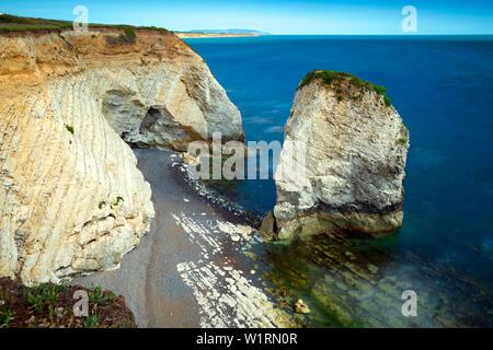 long,exposure,camera,photograph,sea,stacks,wave,cut,platform,chalk,beach,Freshwater Bay,Isle of Wight, England,UK, - Stock Image