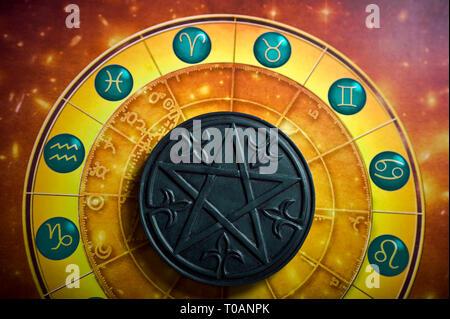 astrology wheel and pentagram or pentacle - Stock Image