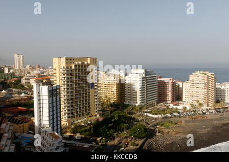 puerto de la cruz tenerife canary islands canaries town buildings hotel hotels high rise - Stock Image