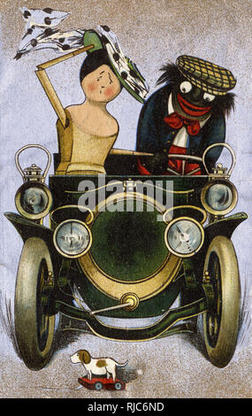 Dolly and Golly about to  (possibly) run over a toy dog in their motor car... - Stock Image